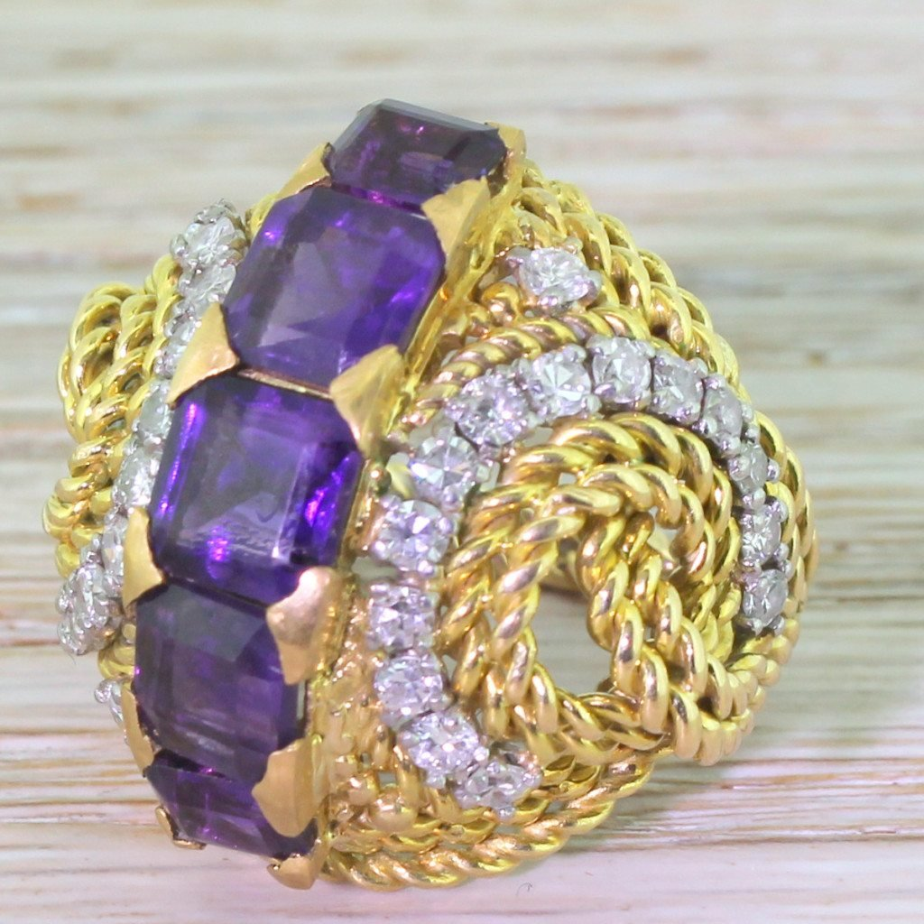 mid century 300 carat amethyst 038 diamond cocktail ring circa 1965