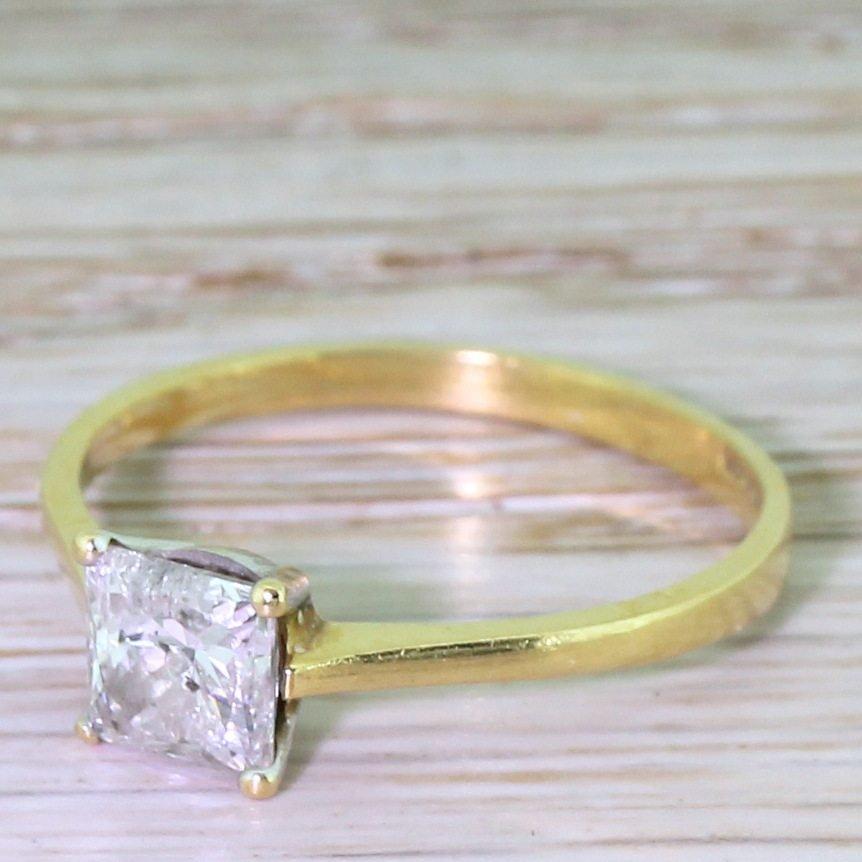 082 carat princess cut diamond engagement ring 18k gold