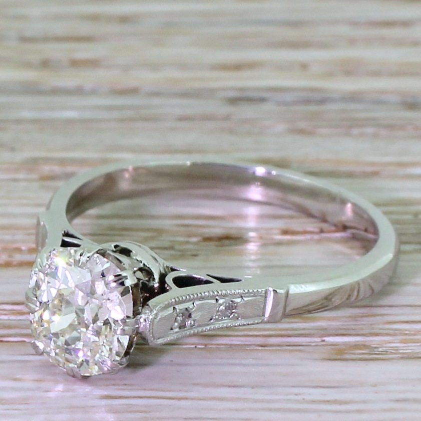 art deco 145 carat old cut diamond engagement ring dutch circa 1930
