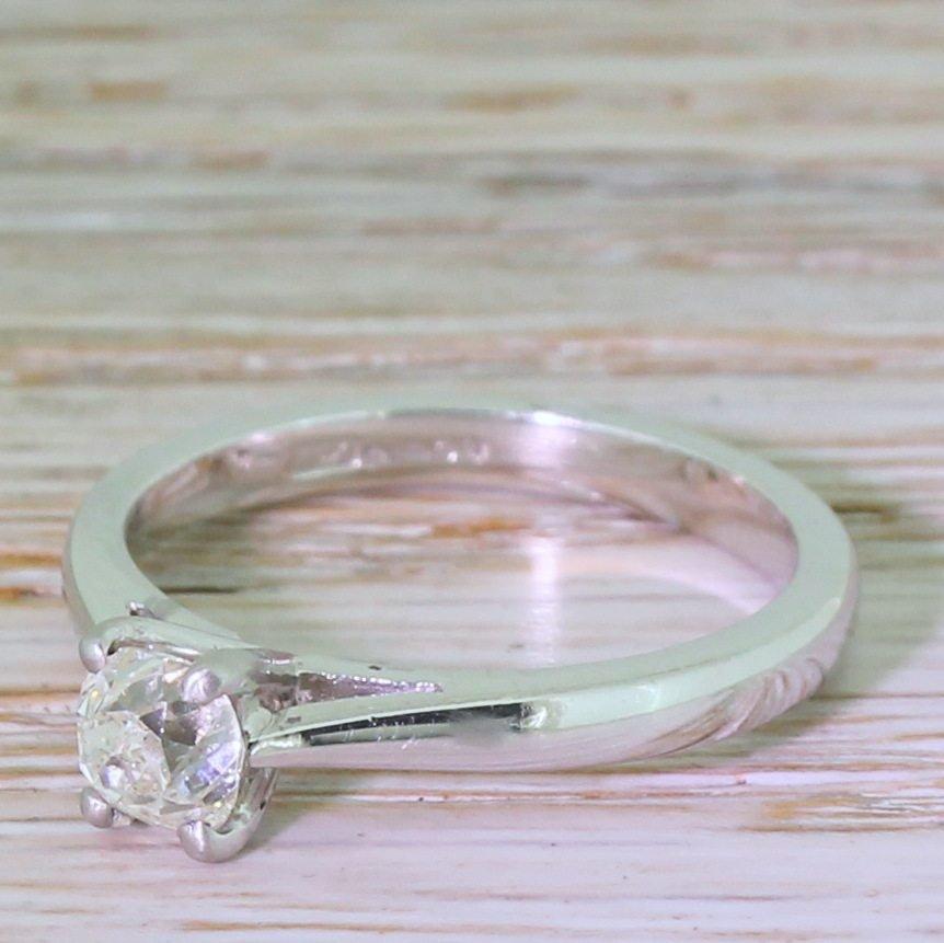 057 carat old cut diamond engagement ring platinum