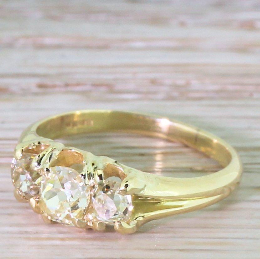 victorian 120 carat fancy light yellow old cut three stone ring circa 1900