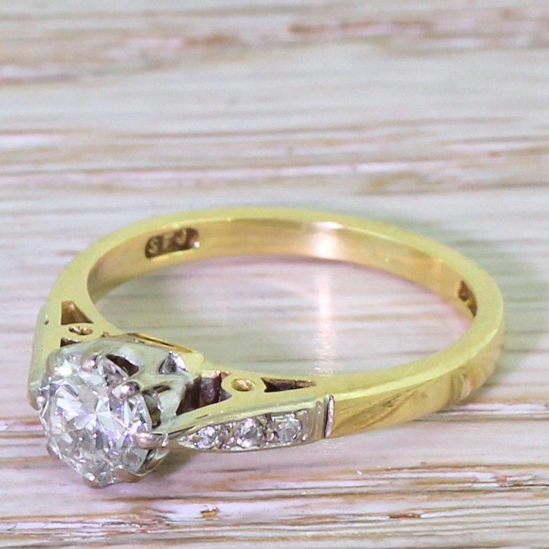 065 carat transitional cut diamond engagement ring 18k gold