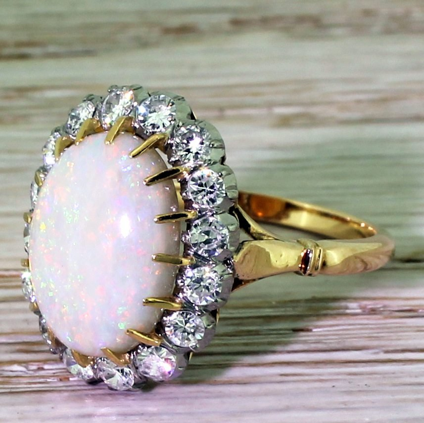 mid century australian opal 038 brilliant cut diamond cluster ring circa 1965