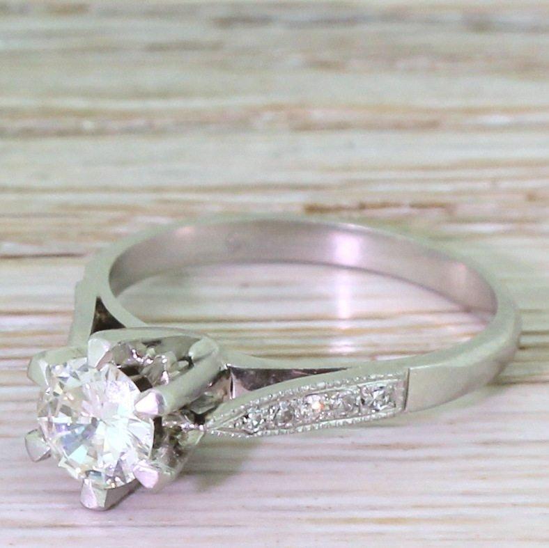 retro 054 carat transitional cut diamond engagement ring circa 1945
