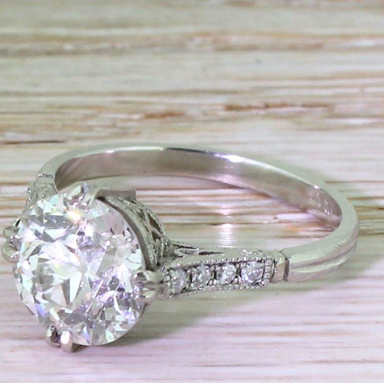 art deco 277 carat old european cut diamond engagement ring circa 1915