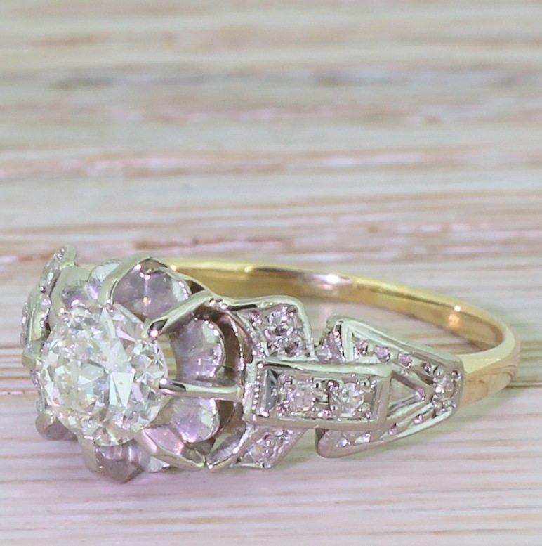 art deco 076 carat old cut diamond engagement ring circa 1925