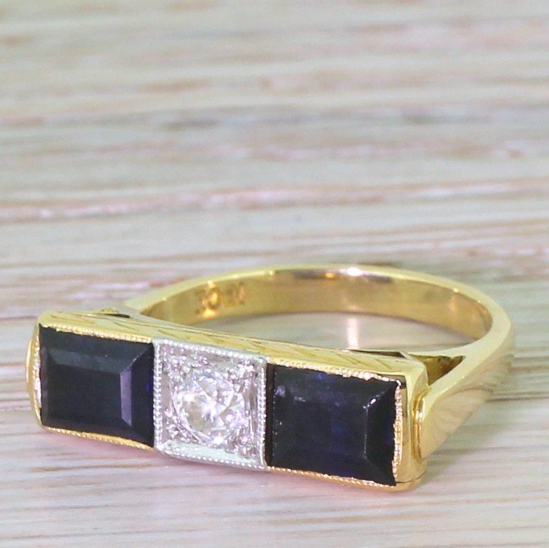 mid century old cut diamond 038 emerald cut sapphire circa 1965