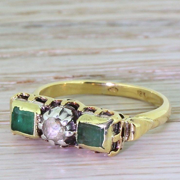 mid century rose cut diamond 038 emerald three stone ring circa 1965