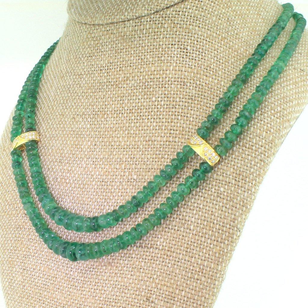 late 20th century double strand emerald bead necklace circa 1980