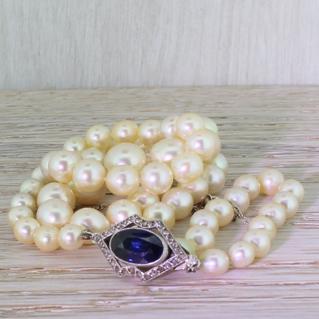 mid century cultured pearl necklace with sapphire 038 rose cut diamond clasp french circa 1950