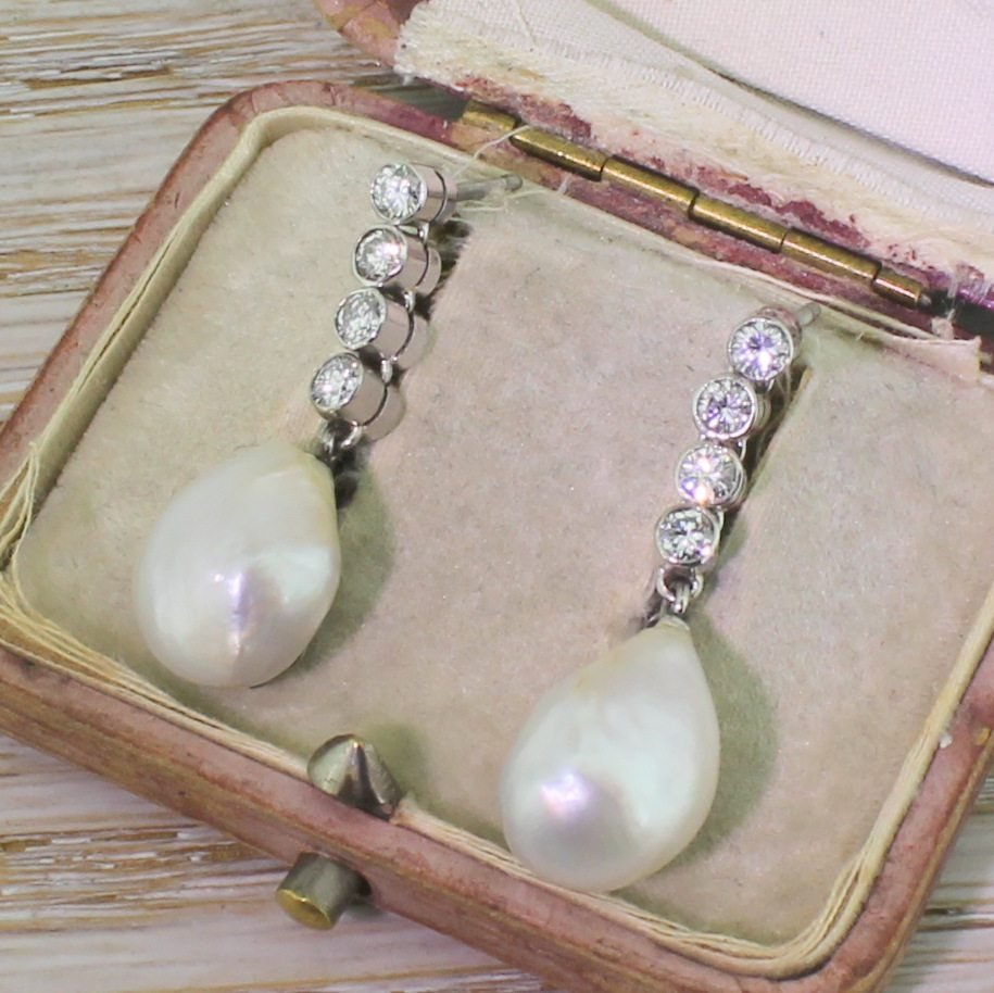 mid century natural saltwater pearl 038 diamond pendant earrings circa 1950