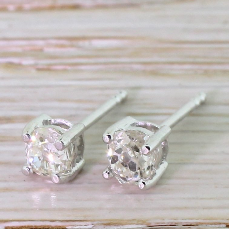 060 carat old mine cut diamond stud earrings 18k white gold