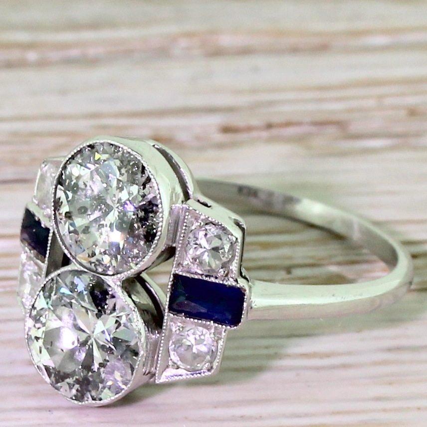 art deco 200 carat old cut diamond double solitaire ring circa 1920