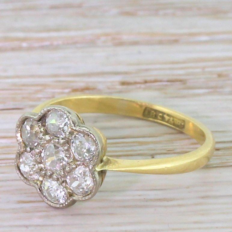 edwardian 100 carat old cut diamond daisy cluster ring circa 1910
