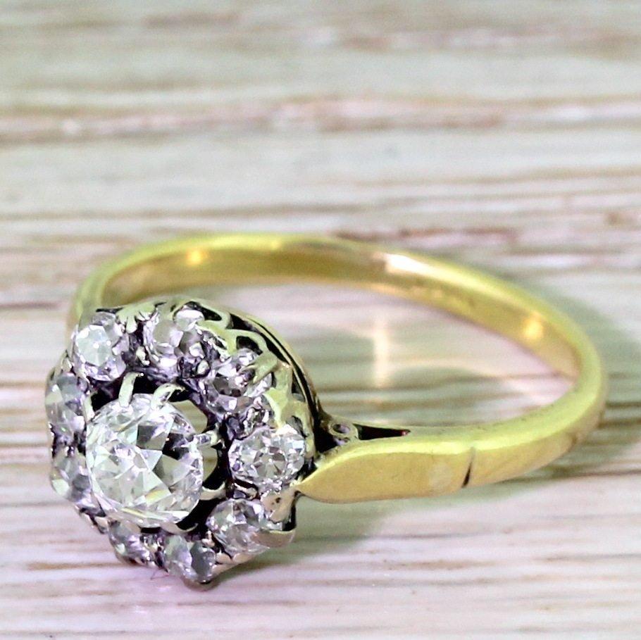 victorian 100 carat old cut diamond target cluster ring circa 1890