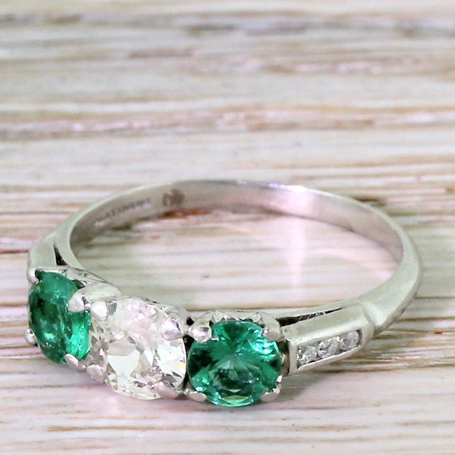 art deco 065 carat old cut diamond 038 emerald trilogy ring circa 1920