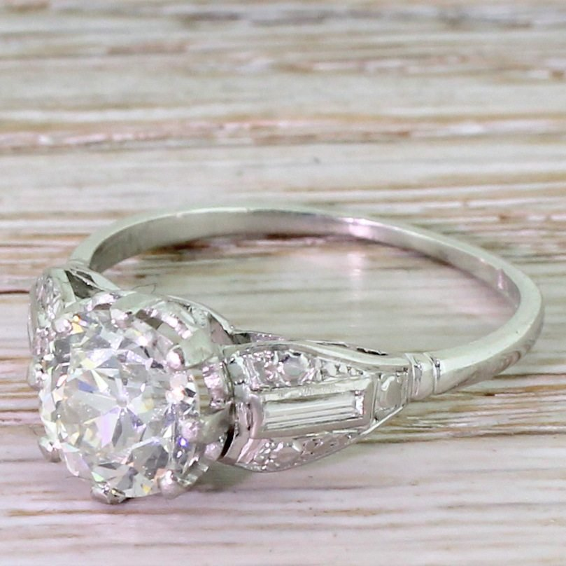art deco 200 carat old cut diamond engagement ring circa 1925