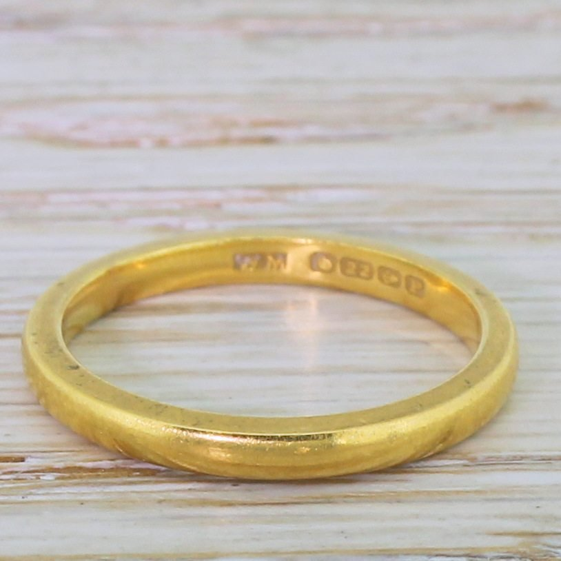 art deco 22k yellow gold wedding band dated 1939