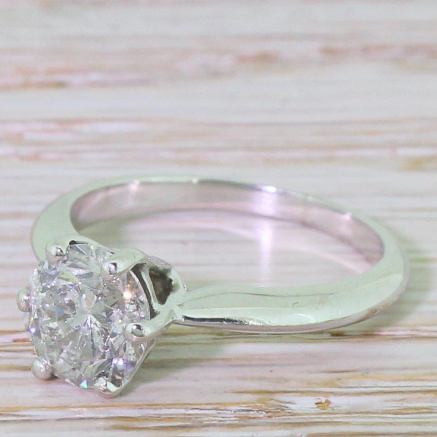 mid century 143 carat transitional cut diamond engagement ring circa 1960
