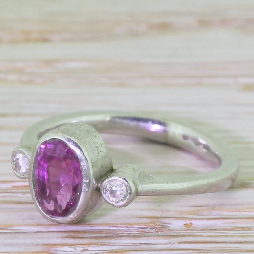 late 20th century 070 carat ruby platinum solitaire ring circa 1980