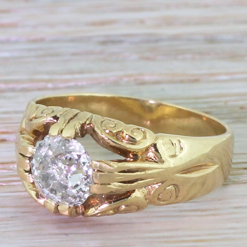 late 20th century 180 carat old cut diamond solitaire ring dated 1975