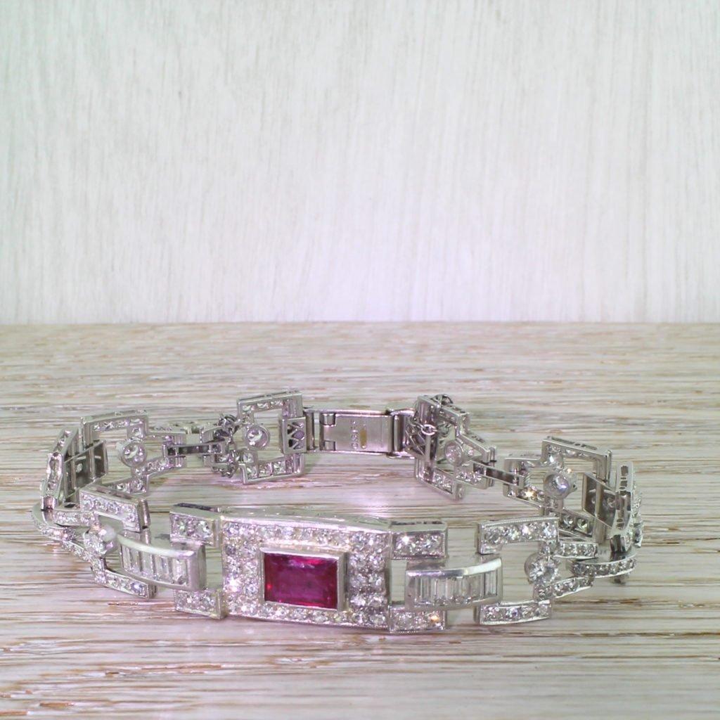 art deco 1000 carat diamond 038 200 carat ruby bracelet circa 1940