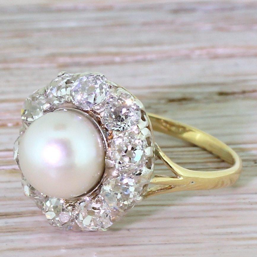 art deco pearl amp 196 carat old cut diamond cluster ring circa 1920