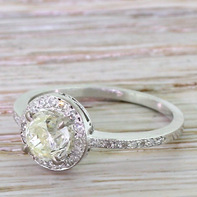 mid century 087 carat transitional cut diamond 8220halo8221 diamond ring circa 1960