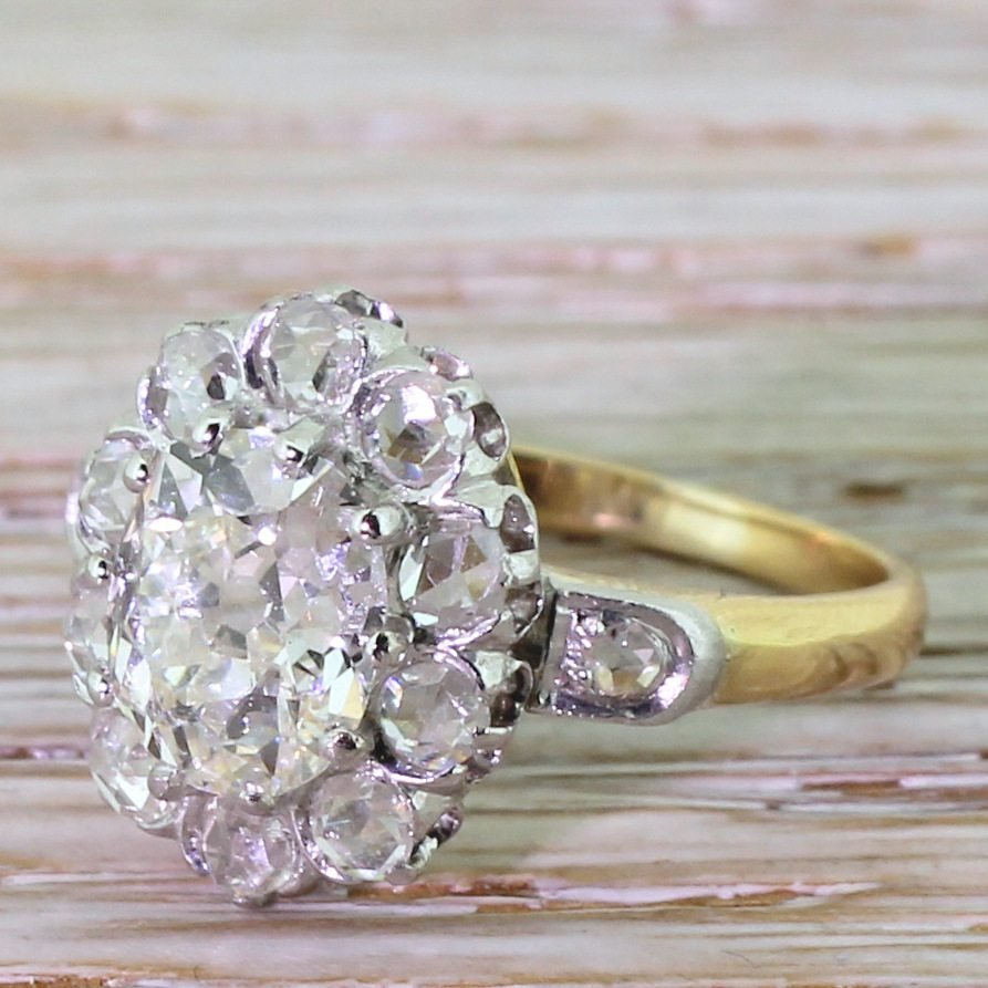 art deco 160 carat old cut 038 rose cut diamond cluster ring french circa 1930
