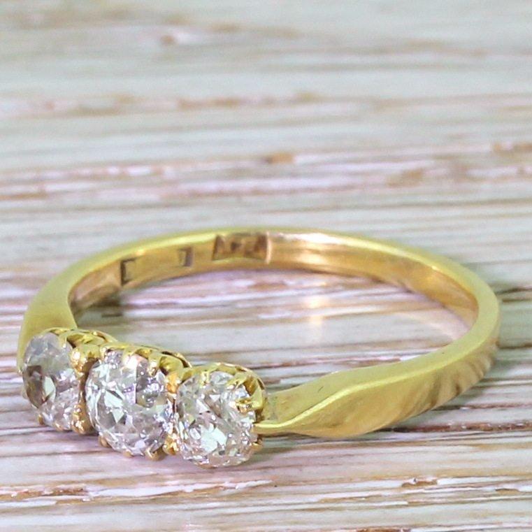 victorian 100 carat old cut diamond trilogy ring circa 1880