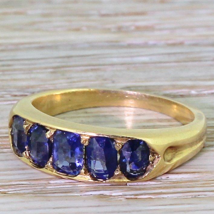 edwardian 170 carat natural sapphire five stone ring circa 1910