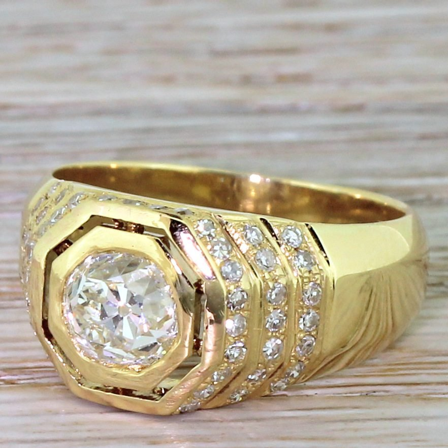 art deco 145 carat old cut diamond 8220hexagonal8221 ring circa 1940