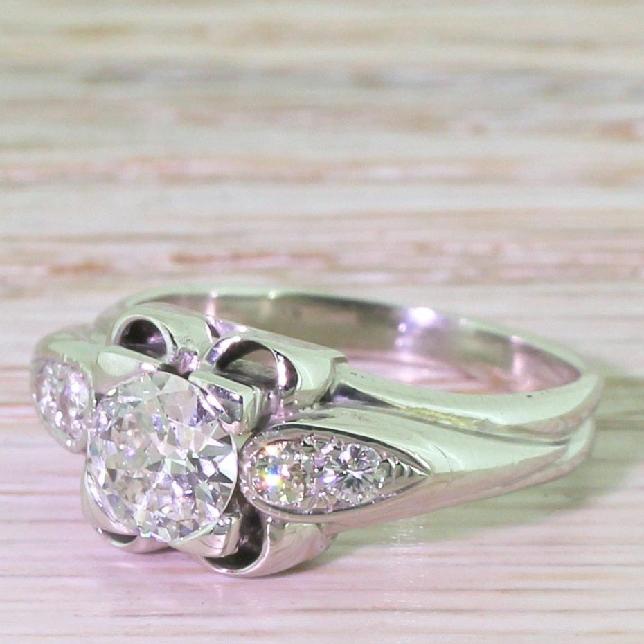 retro 090 carat old european cut diamond engagement ring circa 1950