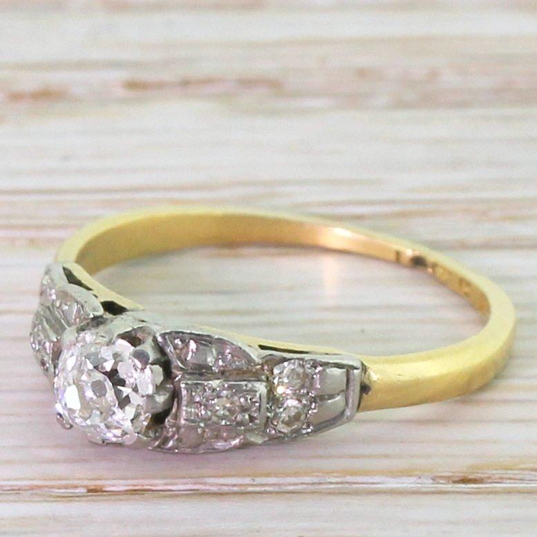 art deco 040 carat old cut diamond engagement ring circa 1920