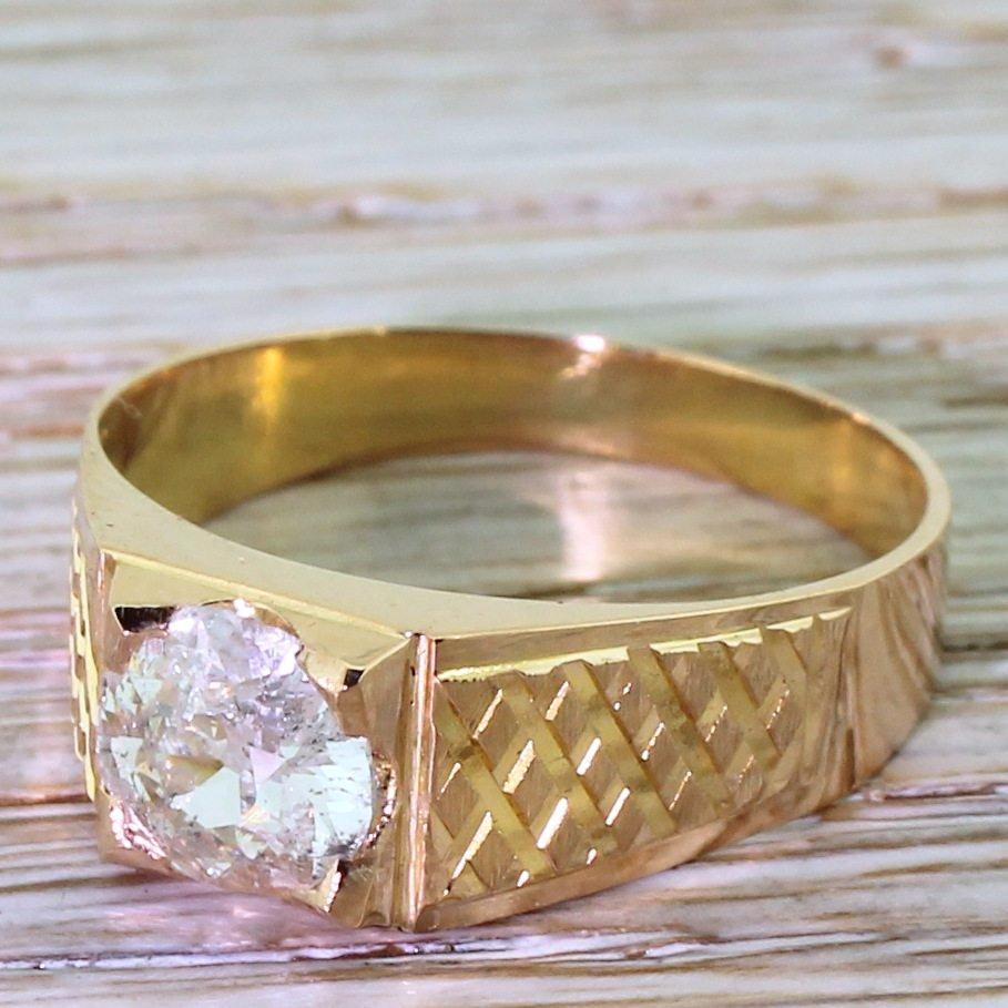 late 20th century 103 carat old cut diamond solitaire ring circa 1975