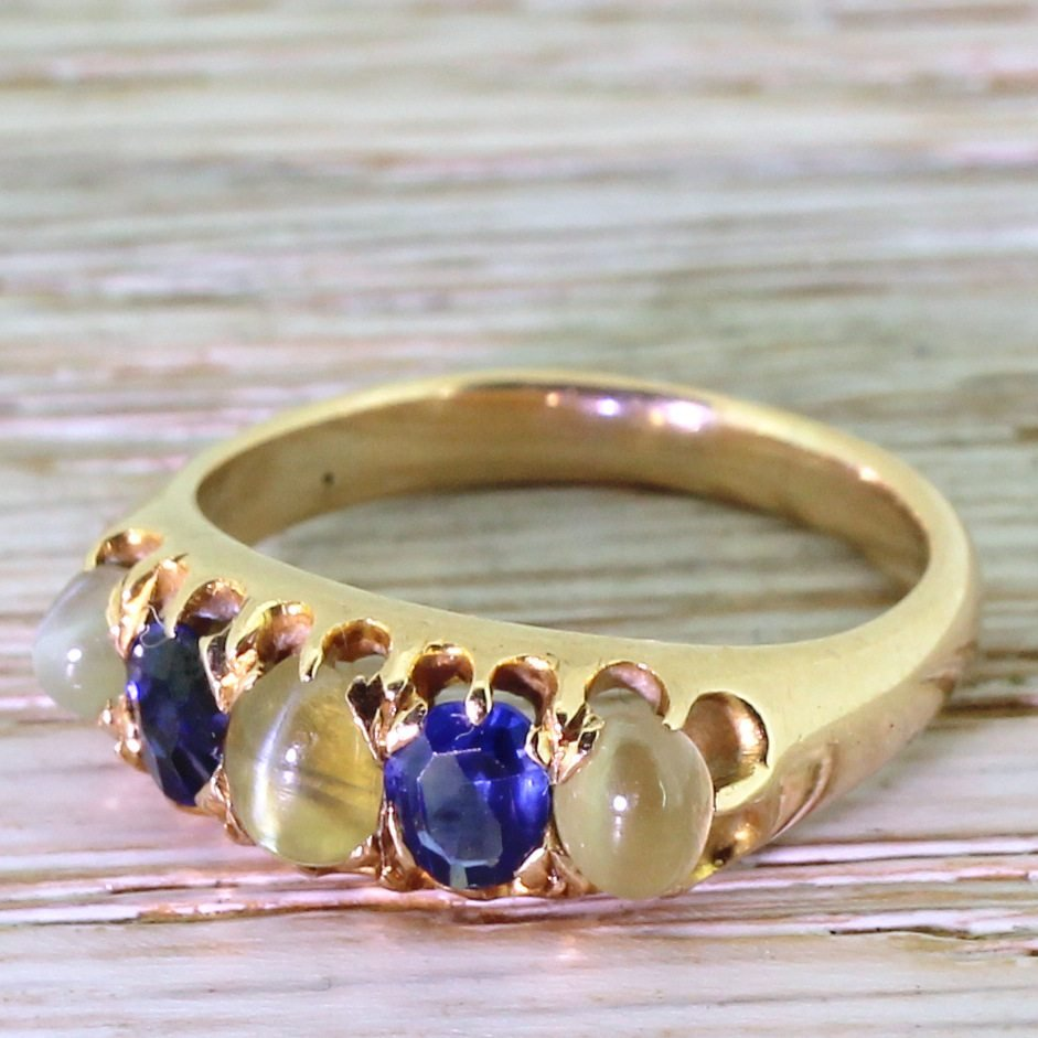 victorian cat8217s eye 038 sapphire five stone ring circa 1900