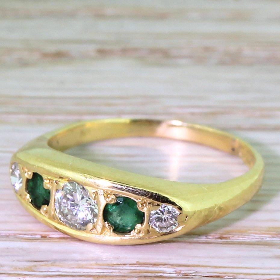 late 20th century brilliant cut diamond 038 emerald five stone ring circa 1980