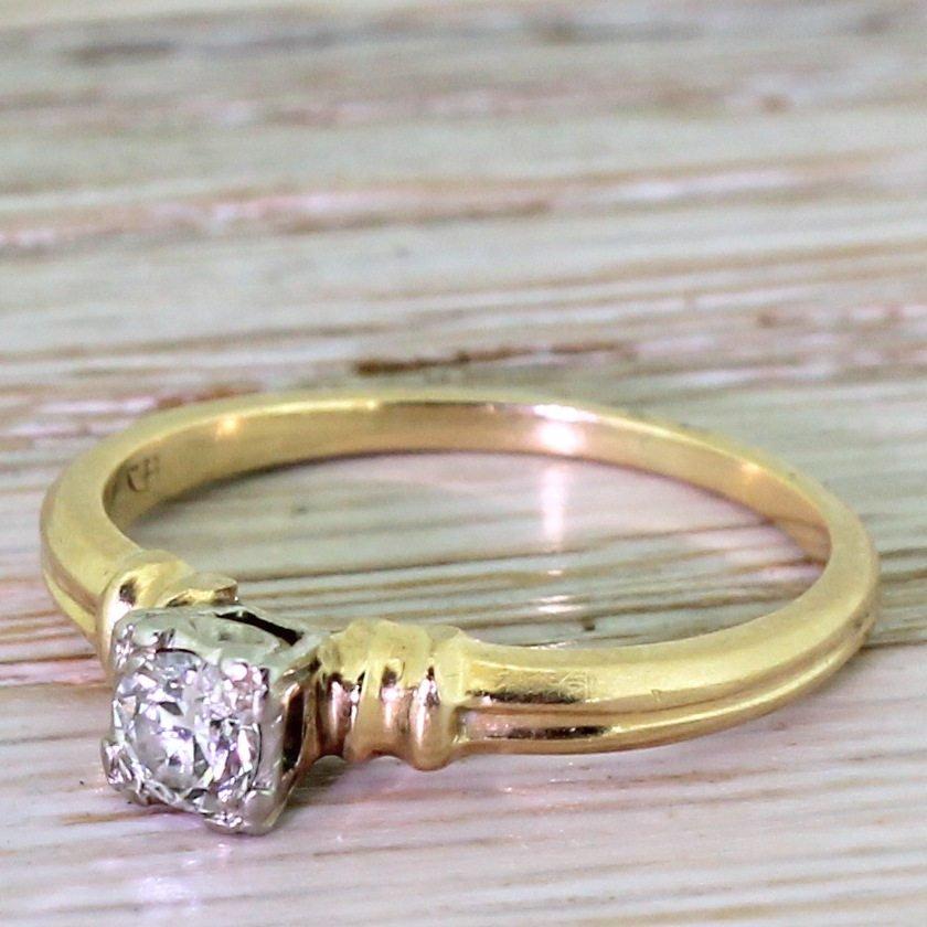 art deco 020 carat old european cut diamond engagement ring circa 1940