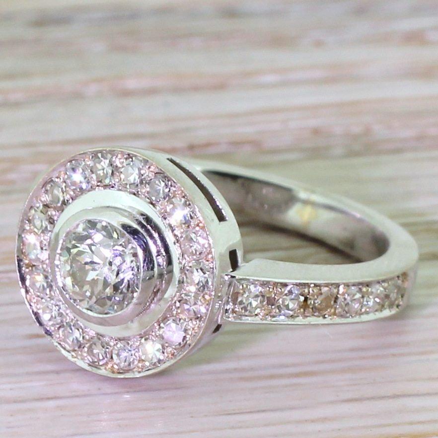065 carat old european cut diamond target cluster ring 18k white gold