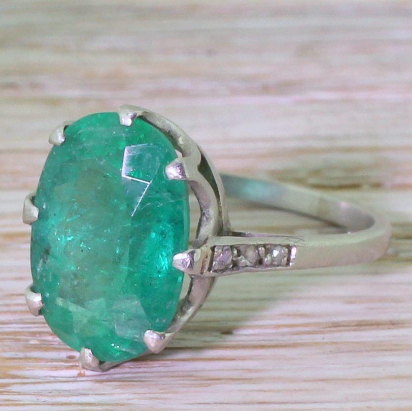 art deco 520 carat oval cut emerald solitaire ring circa 1935