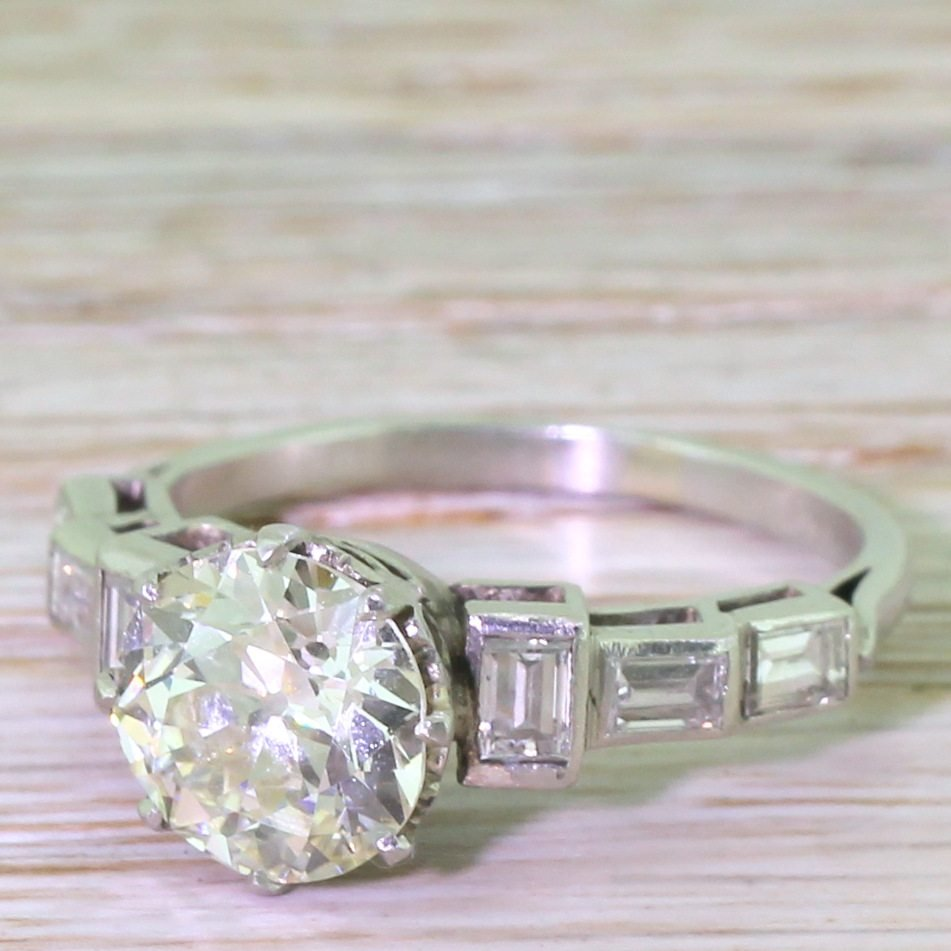 art deco 249 carat old cut 038 baguette cut diamond engagement ring circa 1925