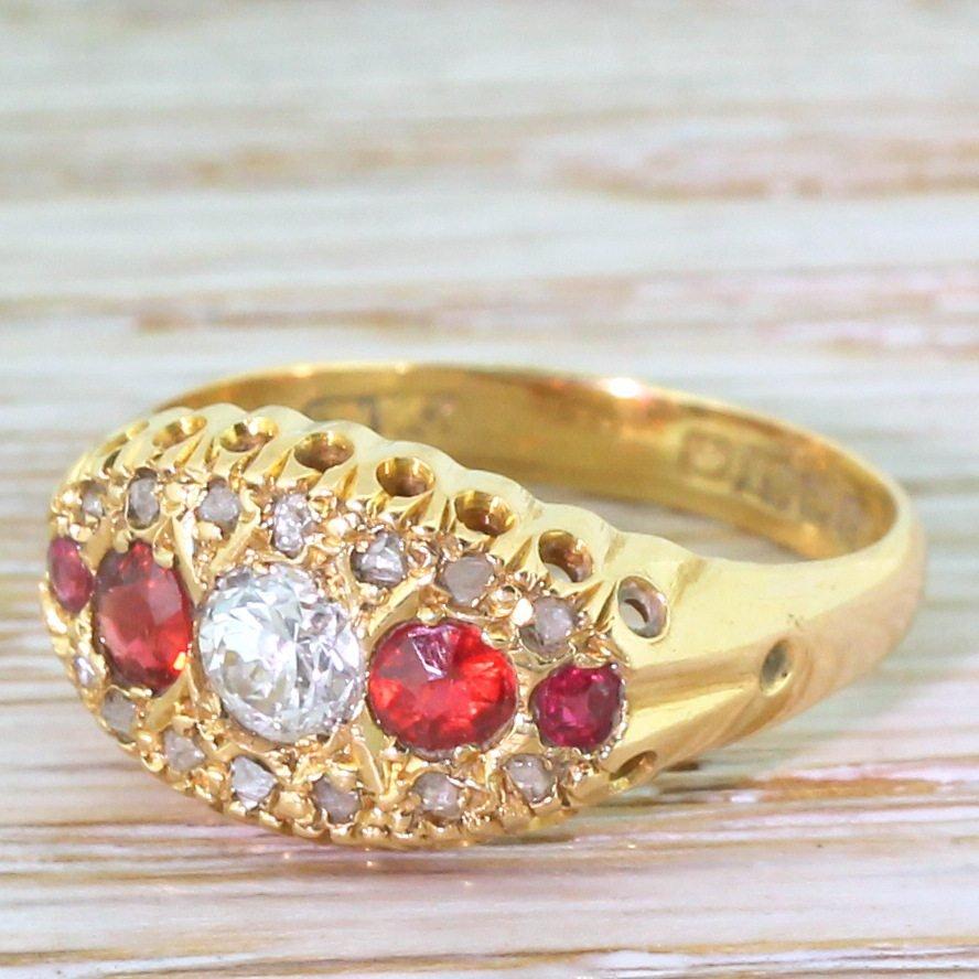 art deco diamond 038 garnet five stone ring dated 1918