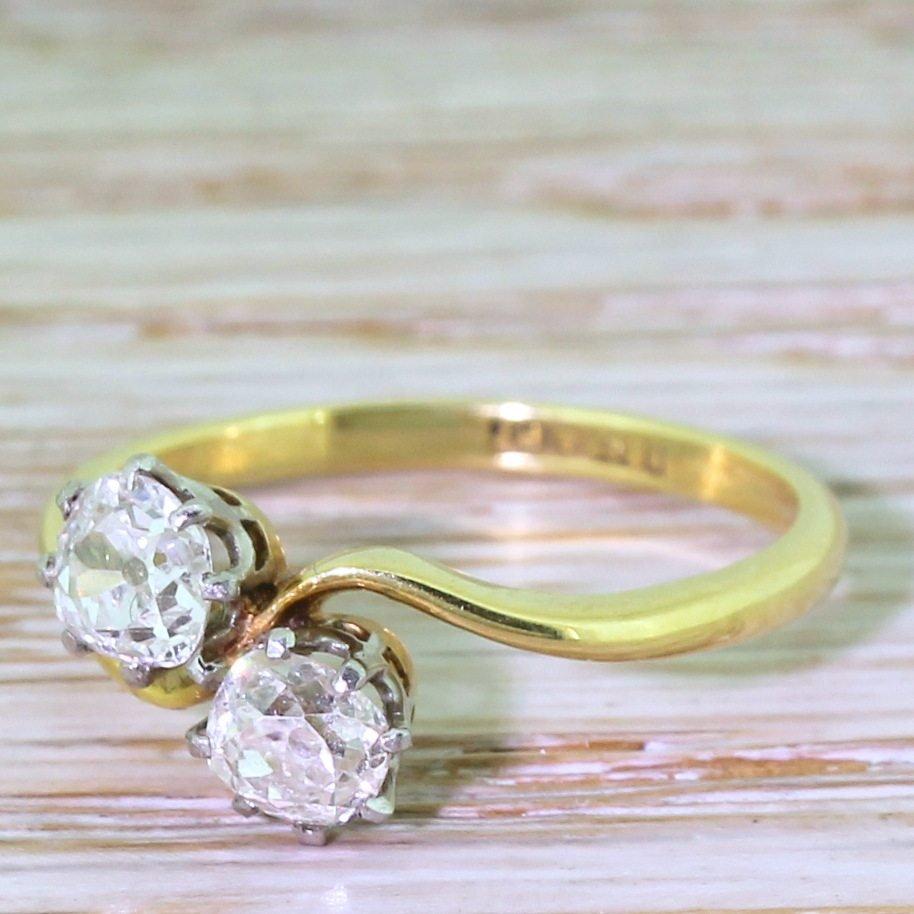 art deco 080 carat old cut diamond crossover ring circa 1915
