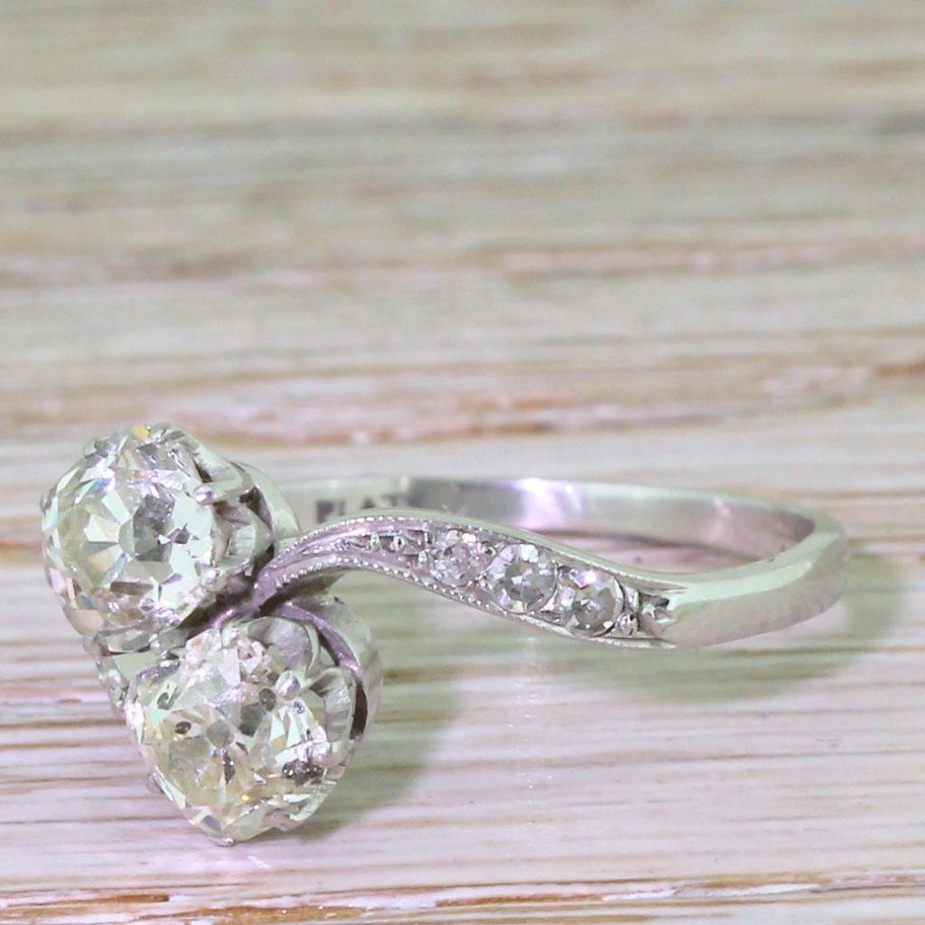 edwardian 200 carat old cut diamond crossover ring circa 1910