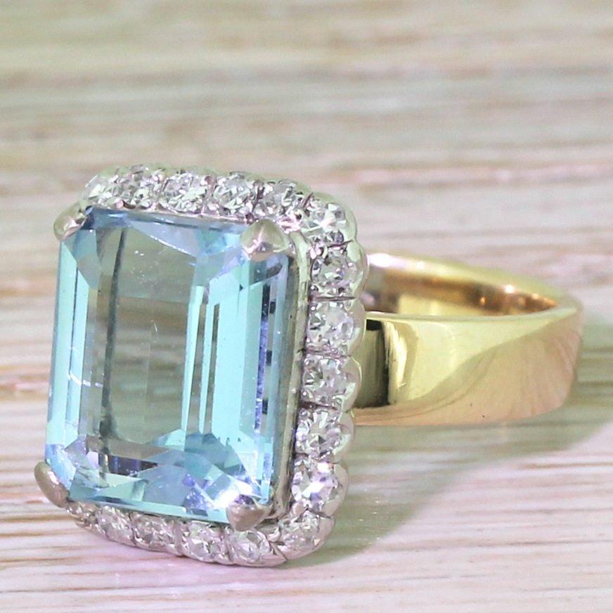 mid century 500 carat emerald cut aquamarine 038 diamond ring circa 1960