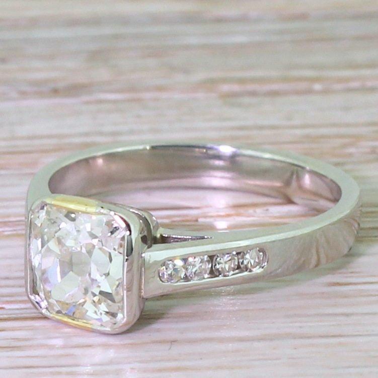 149 carat square shaped old cut diamond engagement ring platinum