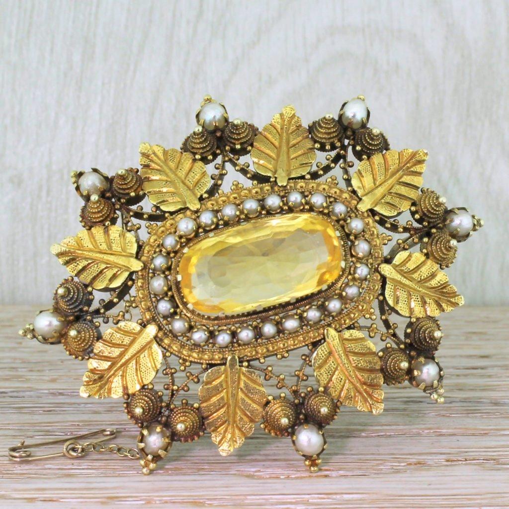 mid century 1789 carat natural yellow ceylon sapphire brooch circa 1940