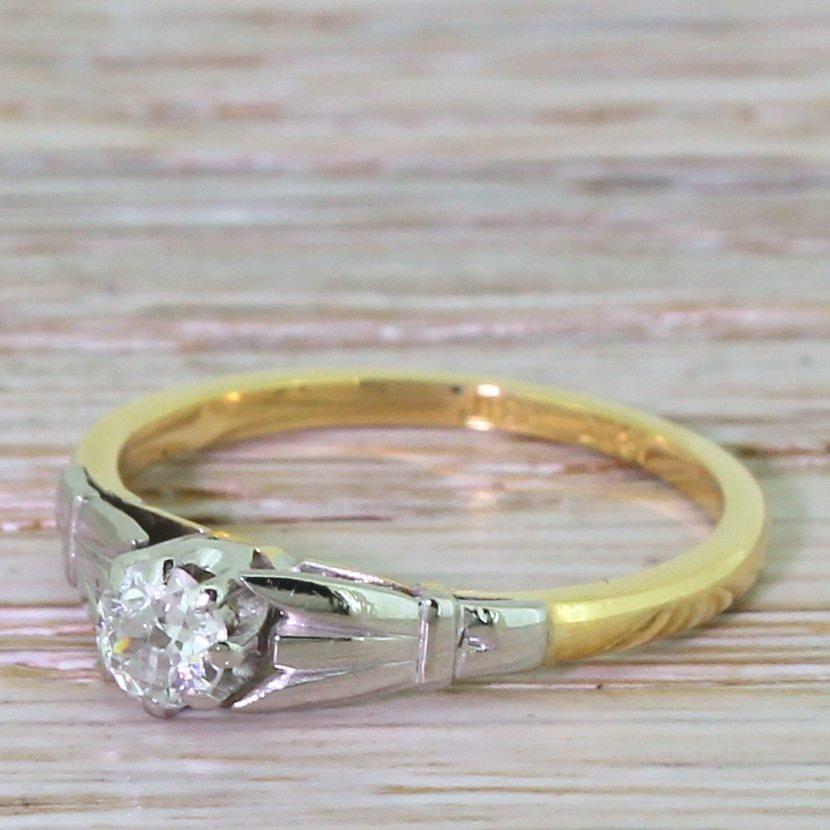 art deco 025 carat old cut diamond engagement ring circa 1935