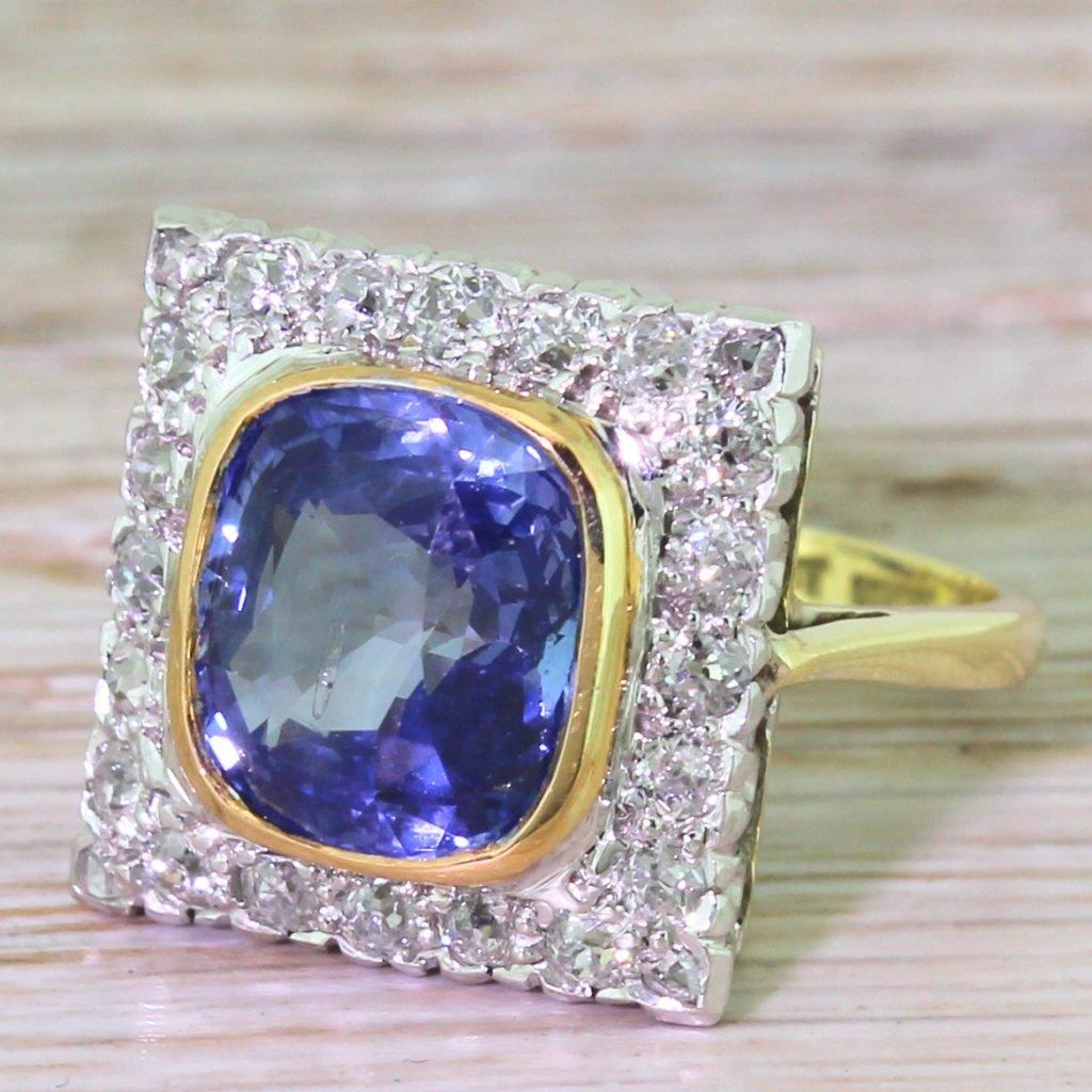 art deco 495 carat natural ceylon sapphire 038 old cut diamond ring circa 1925