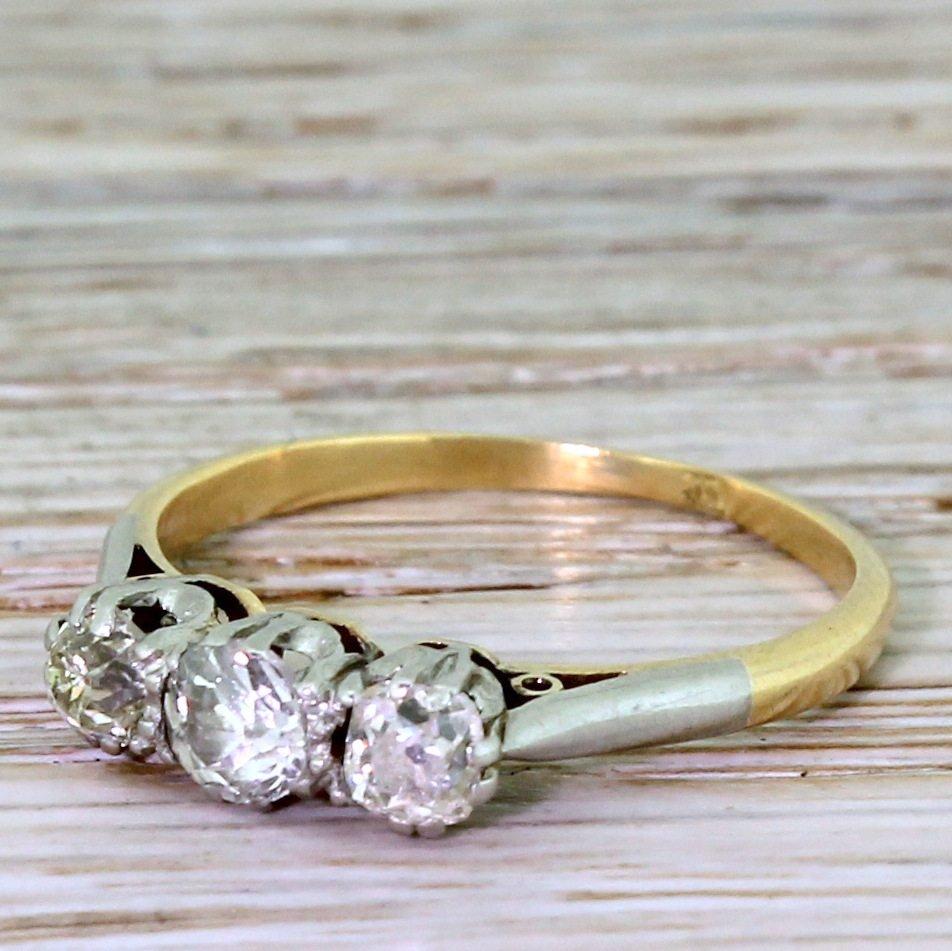 art deco 085 carat old cut diamond trilogy ring circa 1925